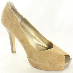 NINE WEST Tan Suede Peep Toe Platform Pump Heels